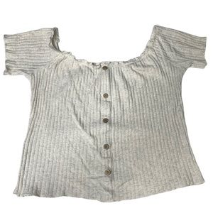 Plus Size Ribbed Oatmeal Color Top with Buttons